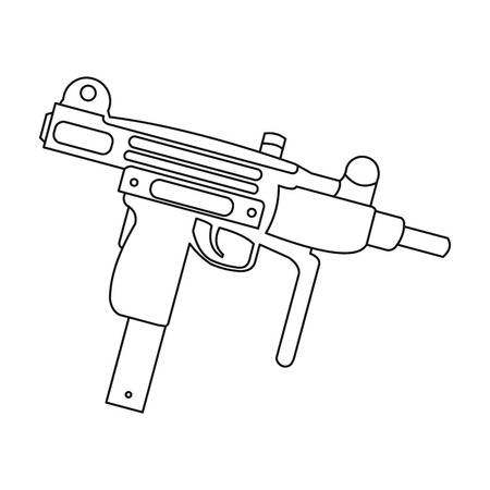 UZI weapon icon outline. Single weapon icon from the big ammunition, arms outline. Illustration