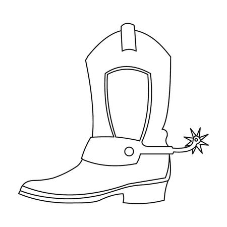 Cowboy-Boot-Symbol Kontur. westlichen Symbol aus dem Wilden Westen Umriss Singe.
