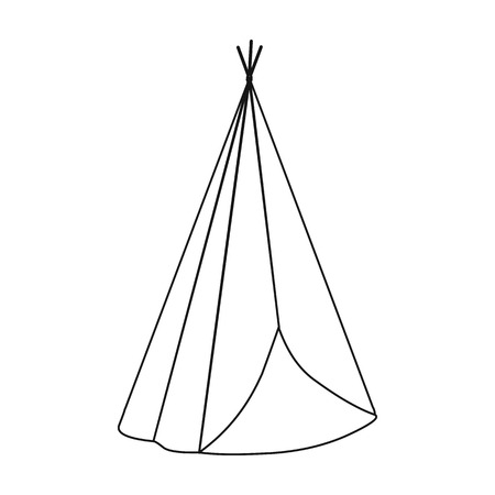 american history: Wigwam icon outline. Singe western icon from the wild west outline. Illustration