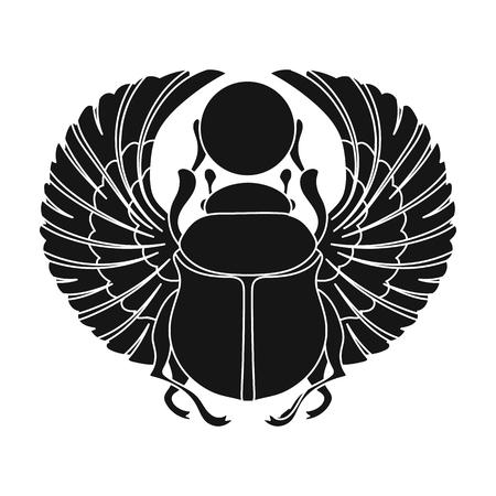 Scarabäus-Symbol im schwarzen Stil isoliert auf weißem Hintergrund. Alte Ägypten Symbol Vektor-Illustration. Standard-Bild - 69245092