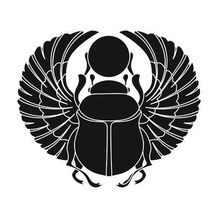 Scarab icon in black style isolated on white background. Ancient Egypt symbol vector illustration. Çizim