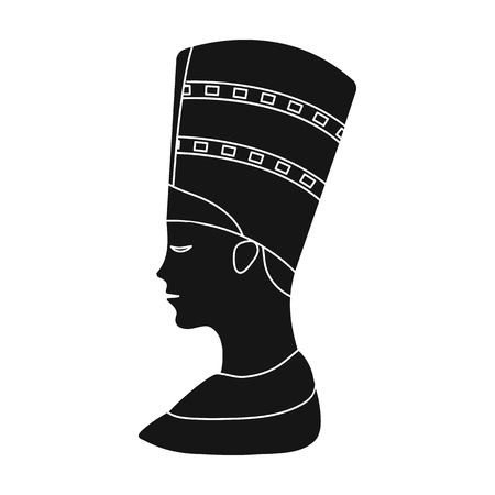 cleopatra: Bust of Nefertiti icon in black style isolated on white background. Ancient Egypt symbol vector illustration.