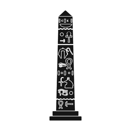 obelisk: Luxor obelisk icon in black style isolated on white background. Ancient Egypt symbol vector illustration.