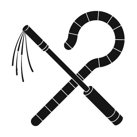 Crook and flail icon in black style isolated on white background. Ancient Egypt symbol vector illustration.