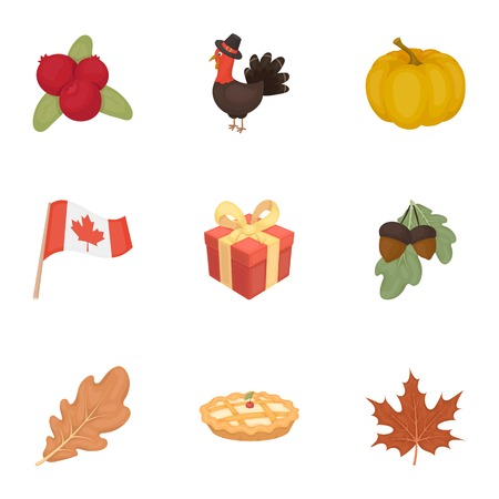 Canadian Thanksgiving Day set icons in cartoon style. Big collection of canadian Thanksgiving Day vector symbol stock Illustration