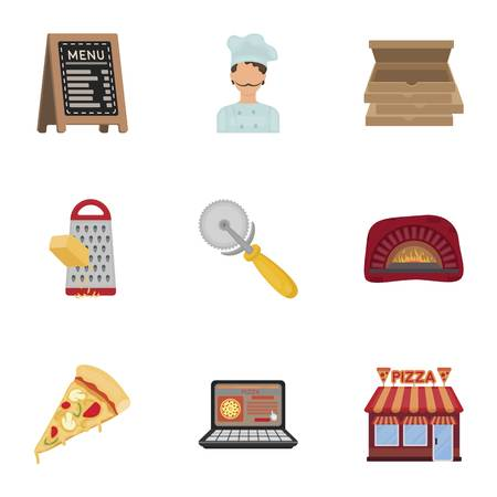 woodfired: Pizza and pizzeria set icons in cartoon style. Big collection of pizza and pizzeria vector symbol stock