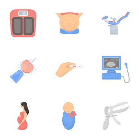 gynecologic: Pregnancy set icons in cartoon style. Big collection of pregnancy vector symbol stock Illustration