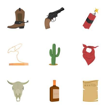dinamita: Wild west set icons in cartoon style. Big collection of wild west vector symbol stock Vectores