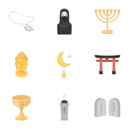 niqab: Religion set icons in cartoon style. Big collection of religion vector symbol stock Illustration