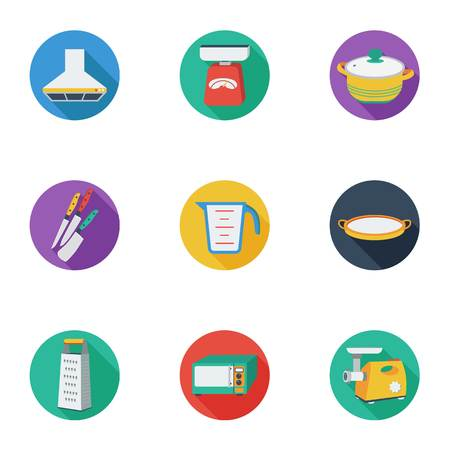 sieve: Kitchen set icons in cartoon style. Big collection of kitchen vector symbol stock Illustration
