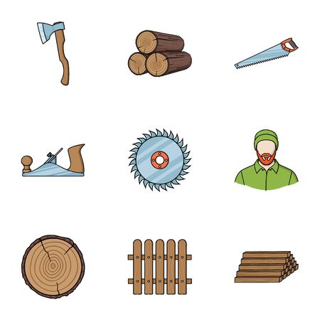 Sawmil and timber set icons in cartoon style. Big collection of sawmill and timber vector symbol stock Illustration