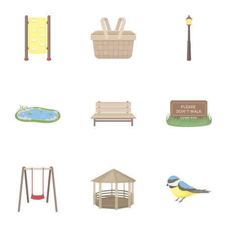 parus: Park set icons in cartoon style. Big collection of park vector symbol stock