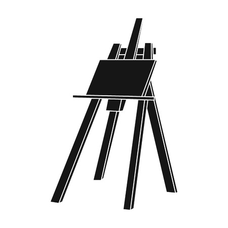Easel with masterpiece icon in black style isolated on white background. Artist and drawing symbol vector illustration.
