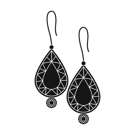 Orecchini con icona di gemme in stile nero isolato su priorità bassa bianca. Illustrazione di vettore di simbolo di gioielli e accessori.