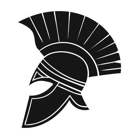 roman soldiers: Roman soldiers helmet icon in black style isolated on white background. Italy country symbol vector illustration.