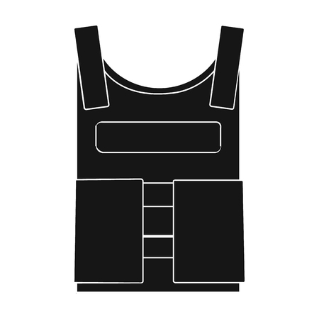troop: Army bulletproof vest icon in black style isolated on white background. Military and army symbol vector illustration
