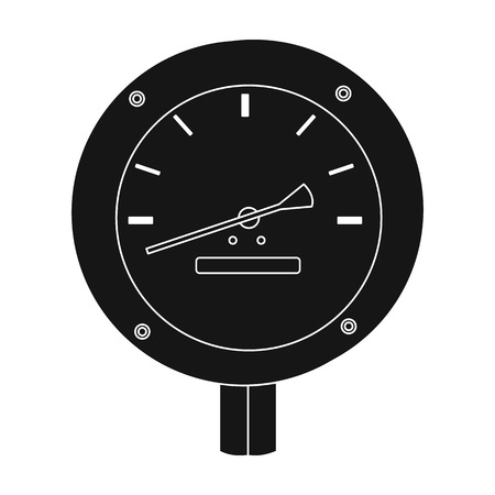 manometer: Oil manometer icon in black style isolated on white background. Oil industry symbol vector illustration. Illustration