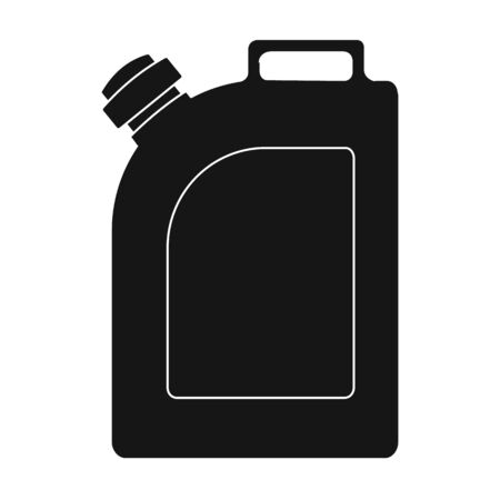 refuel: Oil jerrycan icon in black style isolated on white background. Oil industry symbol vector illustration. Illustration
