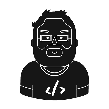 Programmer icon in black style isolated on white background. People of different profession symbol vector illustration.