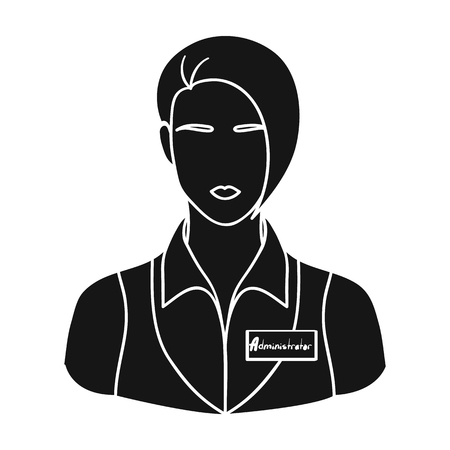 Restaurant waitress with a badge icon in black style isolated on white background. Restaurant symbol vector illustration.