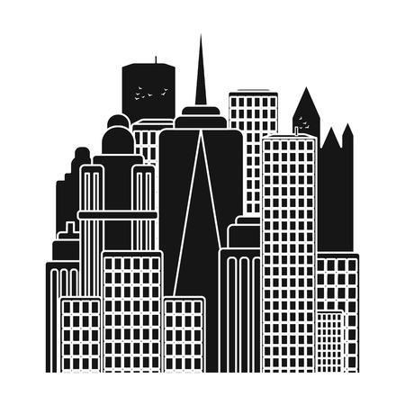 Megalopolis pictogram in zwarte stijl geïsoleerd op een witte achtergrond. VS land symbool vectorillustratie.