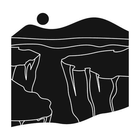 canyon: Grand Canyon icon in black style isolated on white background. USA country symbol vector illustration.