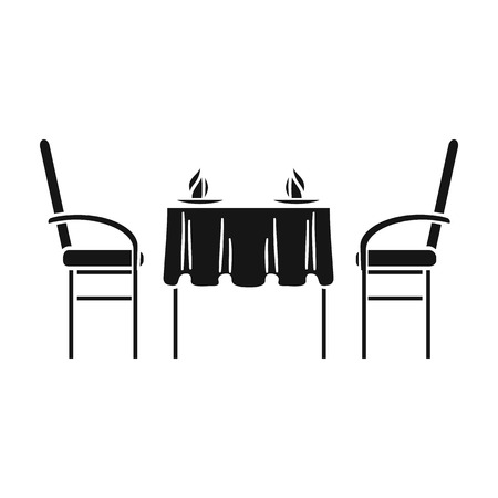 pareja comiendo: Restaurant table icon in black style isolated on white background. Restaurant symbol vector illustration. Vectores
