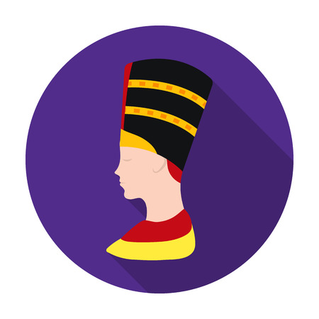 cleopatra: Bust of Nefertiti icon in flat style isolated on white background. Ancient Egypt symbol vector illustration.