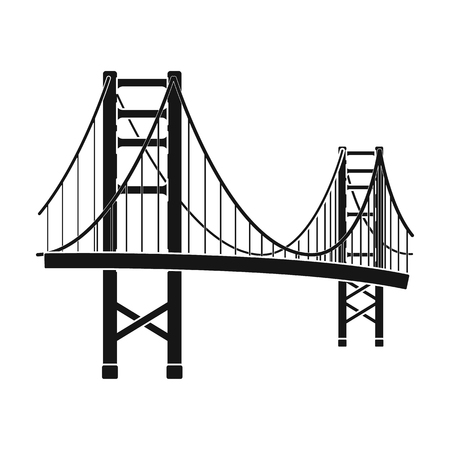 Golden Gate Bridge icon in black style isolated on white background. USA country symbol vector illustration. Vettoriali