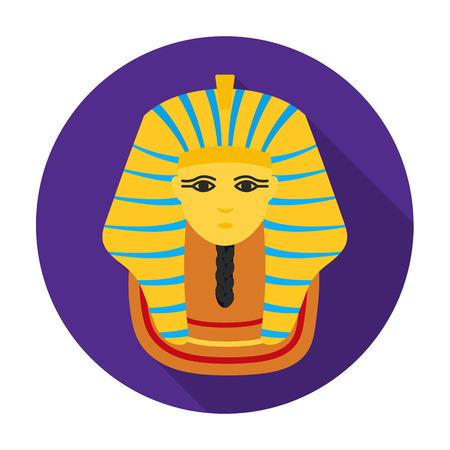 Pharaohs golden mask icon in flat style isolated on white background. Ancient Egypt symbol vector illustration. Illustration