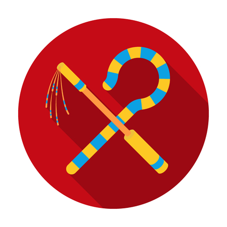 Crook and flail icon in flat style isolated on white background. Ancient Egypt symbol vector illustration.