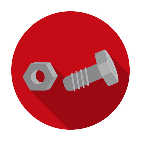 Structural bolt and hex nut icon in flat style isolated on white background. Build and repair symbol vector illustration.