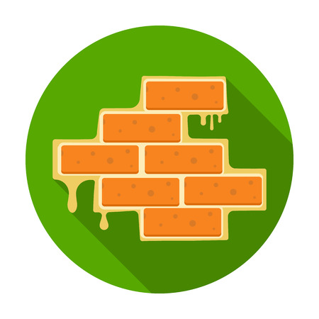 plasterer: Brick wall icon in flat style isolated on white background. Build and repair symbol vector illustration. Illustration