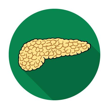 pancreas: Human pancreas icon in flat style isolated on white background. Human organs symbol vector illustration. Illustration