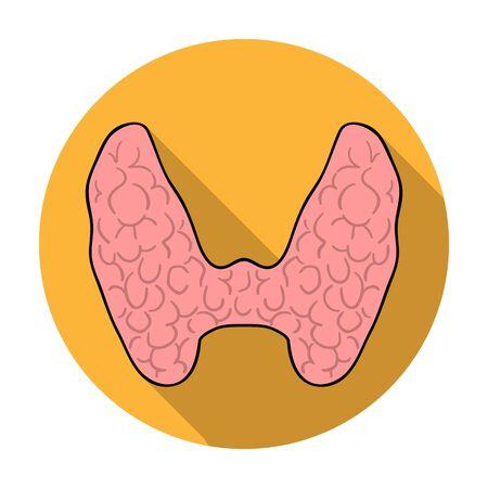 人間の甲状腺剤白い背景で隔離のフラット スタイルのアイコン。人間の臓器シンボル ベクトル イラスト。  イラスト・ベクター素材