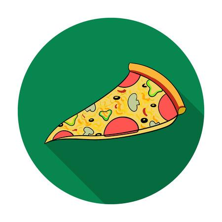 白い背景で隔離のフラット スタイルのイタリアのピザのアイコン。イタリア国シンボル ベクトル イラスト。