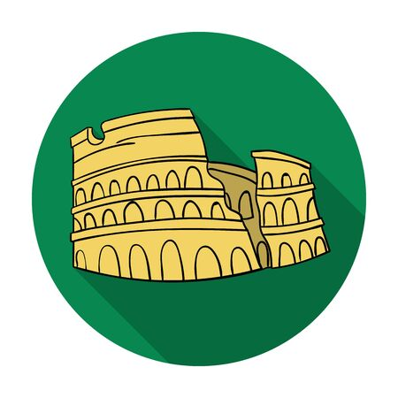 flavian: Colosseum in Italy icon in flat style isolated on white background. Italy country symbol vector illustration.