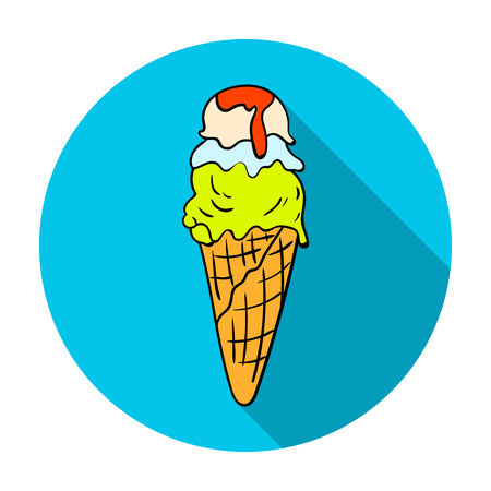 gelato: Italian gelato icon in flat style isolated on white background. Italy country symbol vector illustration.