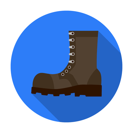 Army combat boots icon in flat style isolated on white background. Military and army symbol vector illustration