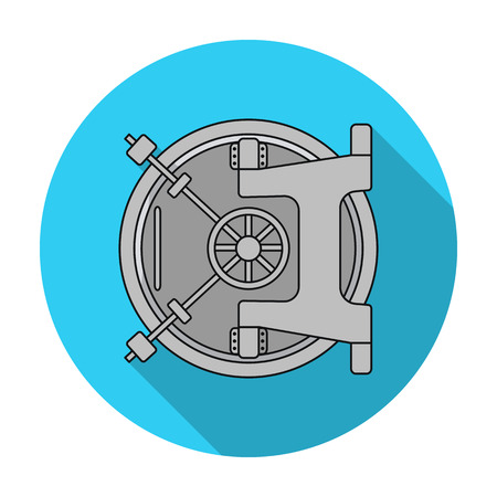 Bank vault icon in flat style isolated on white background. Money and finance symbol vector illustration.
