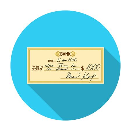 pay check: Cheque icon in flat style isolated on white background. Money and finance symbol vector illustration.