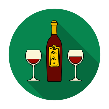Bottle of red wine with glasses icon in flat style isolated on white background. Restaurant symbol vector illustration.