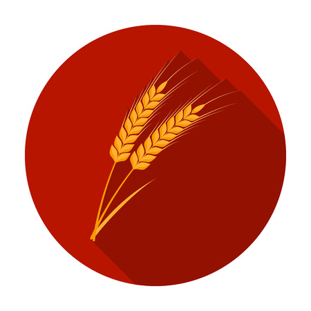 Ears of wheat pasta icon in flat style isolated on white background. Types of pasta symbol vector illustration.