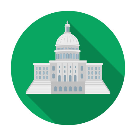 United States Capitol icon in flat style isolated on white background. USA country symbol vector illustration.