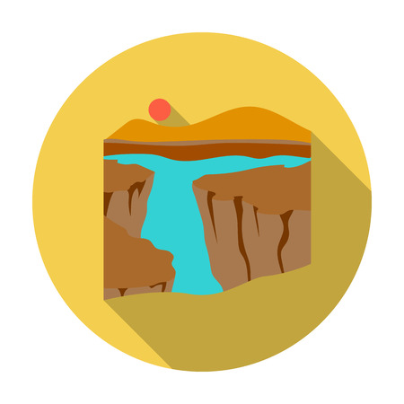plateau: Grand Canyon icon in flat style isolated on white background. USA country symbol vector illustration.