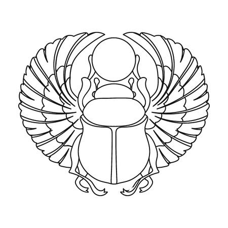 Icona Scarab in stile contorno isolato su sfondo bianco. Antico Egitto illustrazione vettoriale simbolo. Vettoriali