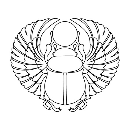 Scarab icon in outline style isolated on white background. Ancient Egypt symbol vector illustration. Иллюстрация