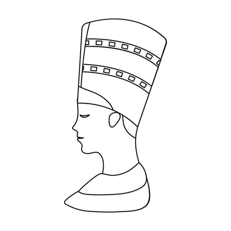 cleopatra: Bust of Nefertiti icon in outline style isolated on white background. Ancient Egypt symbol vector illustration.