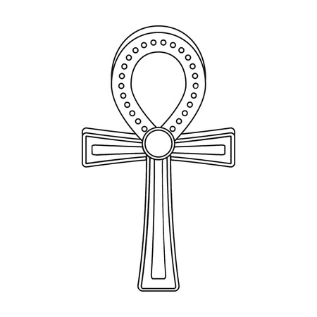 ankh cross: Ankh icon in outline style isolated on white background. Ancient Egypt symbol vector illustration. Illustration