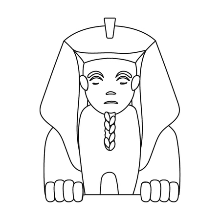 egyptian culture: Sphinx icon in outline style isolated on white background. Ancient Egypt symbol vector illustration. Illustration
